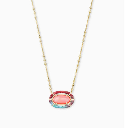 Kendra Scott Threaded Elisa Gold Pendant Necklace In Coral Illusion