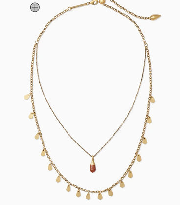 Kendra Scott Vintage Gold Multi Strand Necklace In Burnt Sienna Howlite