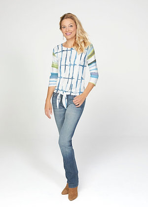 Knotted Stripe French Terry Tie 3/4 Sleeve Top