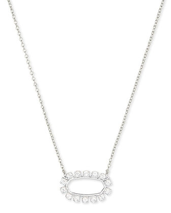 Kendra Elisa Open Frame Crystal Pendant Necklace In Silver