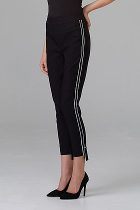 Black ankle pant with white piping