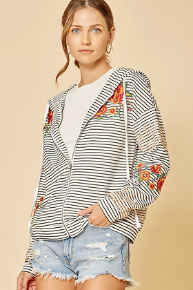 Stripe sweatshirt hoody with embroidery