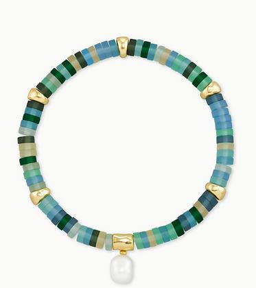 Lila Gold Stretch Bracelet In Matte Sea Green