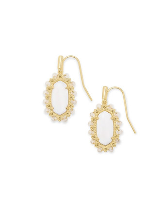 Beaded Lee Gold Drop Earrings