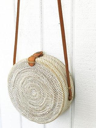 White Round Rattan Bali Bag