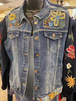 Denim jacket with embroidery and knit sleeves