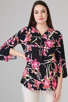 Floral zip front top