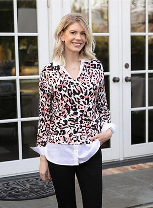 Sharon Young Pink Leopard Layered Top