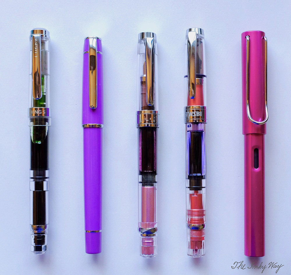 From left to right: the Wing Sung 698, Wing Sung 3003, Wing Sung 3008, TWSBI Diamond 580 AL, and the Lamy Al-Star.