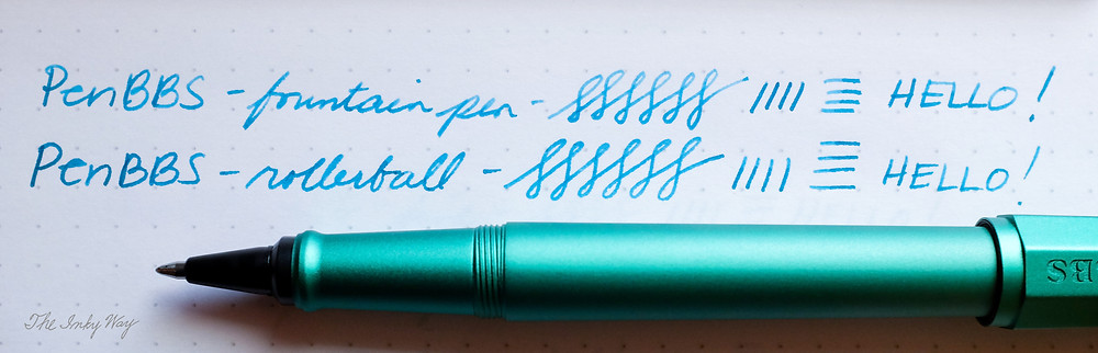 PenBBS 350 fountain pen and rollerball writing sample