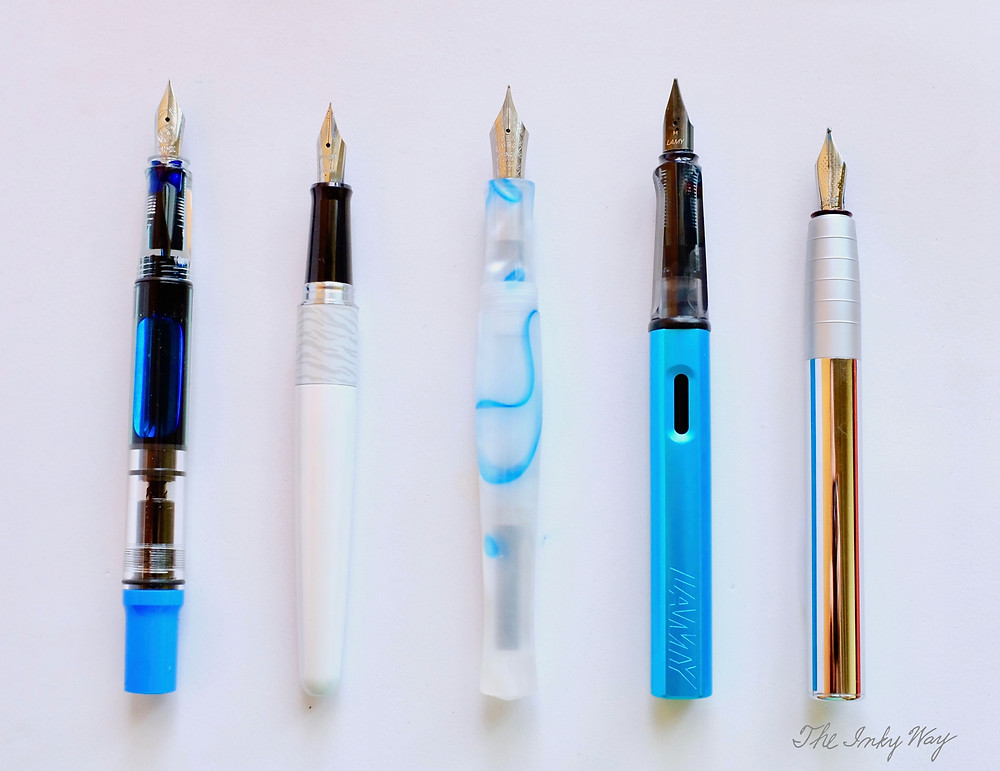 Comparison, uncapped (from left to right): TWSBI Eco-T, Pilot Metropolitan, PenBBS 323, Lamy Al-Star, Faber Castell Loom