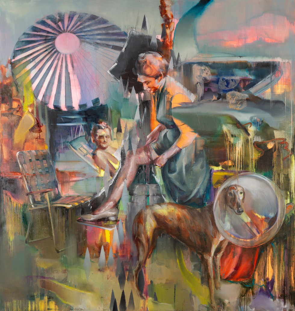 O.t. (hoax II), 190 x 170 cm, oil on linen, 2018