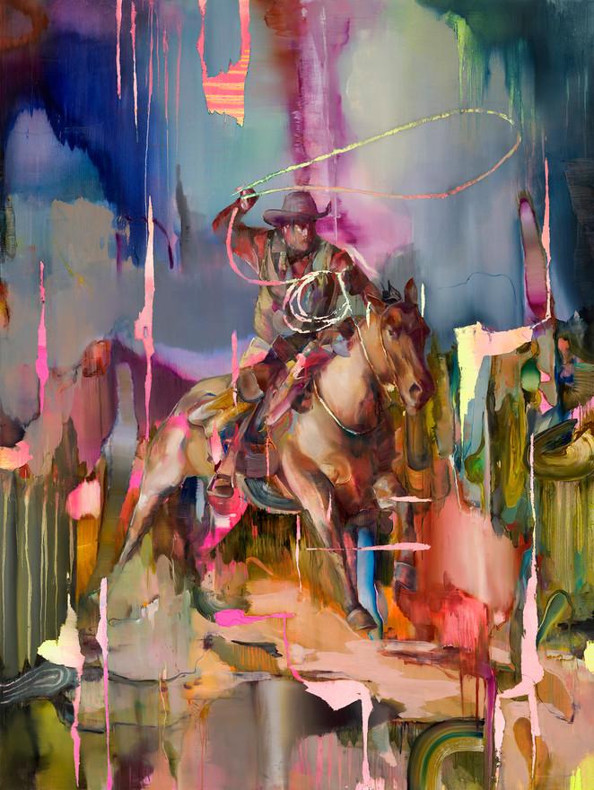 Lassoman I, 240 x 180 cm, oil on linen, 2019