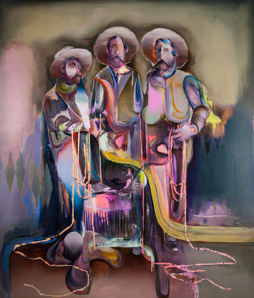 Gang bang, 160 x 130 cm, oil on linen, 2019