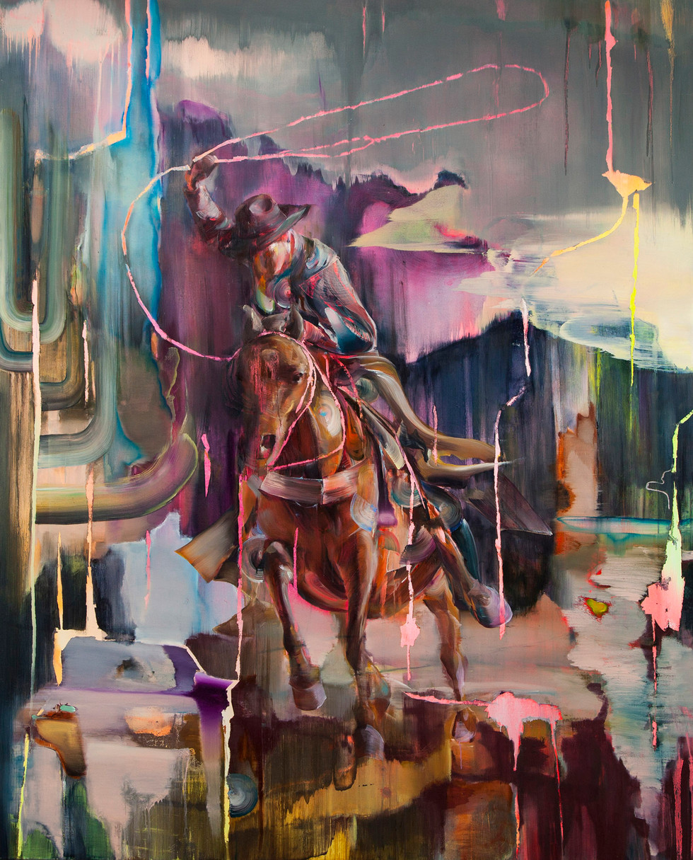 Lassoman, 230 x 180 cm, oil on linen, 2019