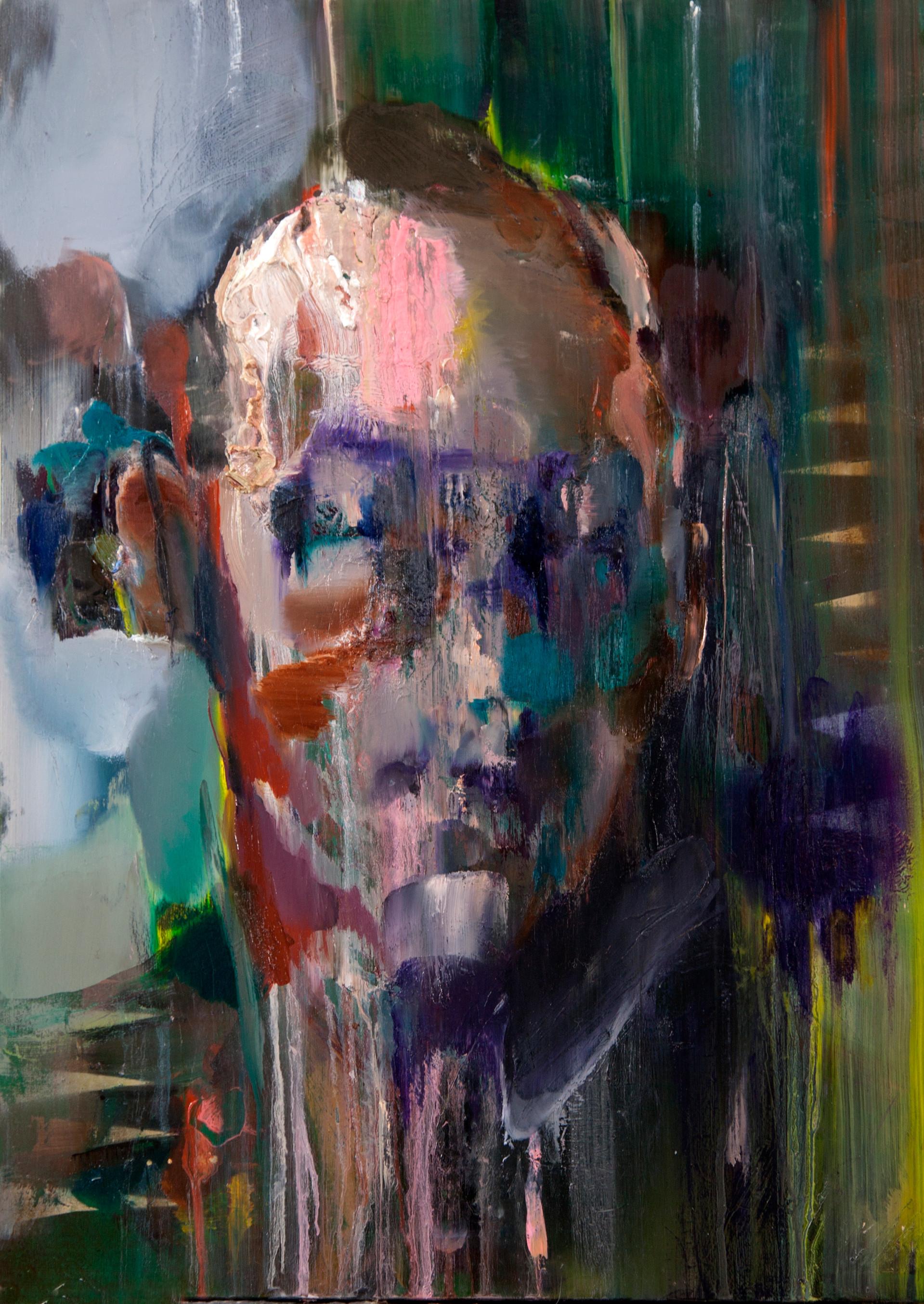 funker, 70 x 50 cm, oil on wood, 2017