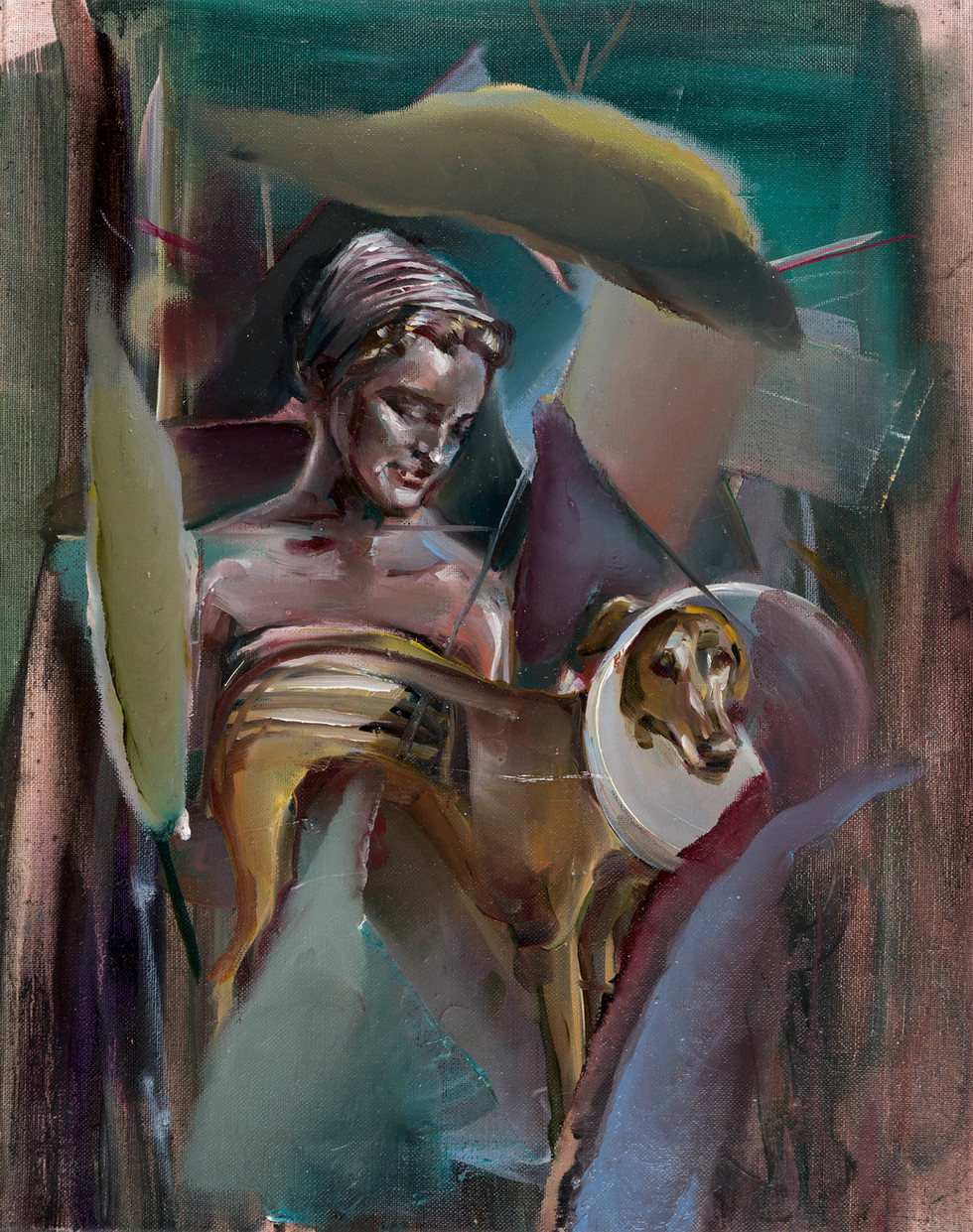 Geometrical girl with dog, oil on linen, 2018