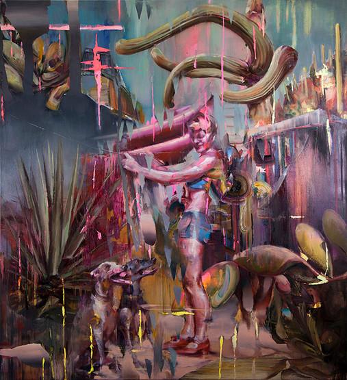 O.t (cactus), 210 x 190 cm, oil on linen, 2018
