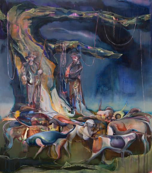 The eternal song, 210 x180 cm, oil on linen, 2020