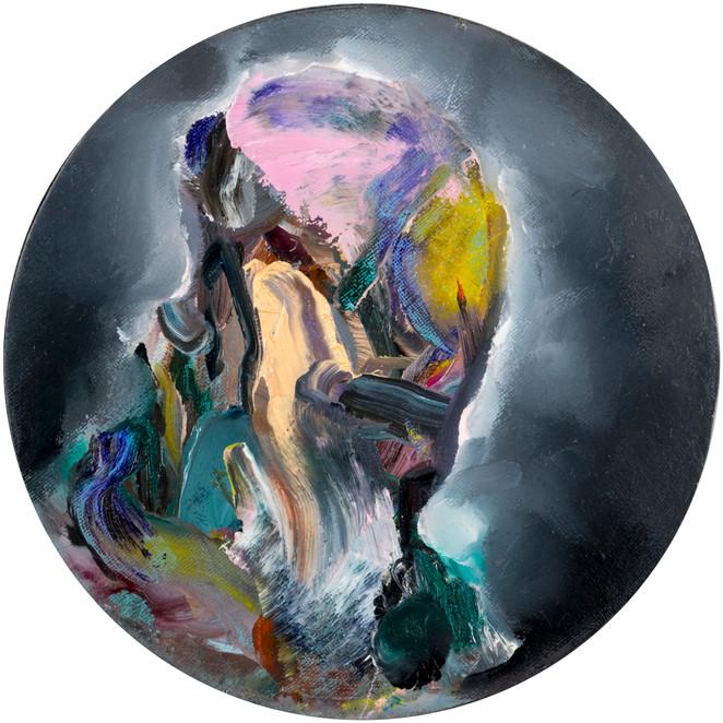 Nero, oil on linen, Ø 15 cm, 2017