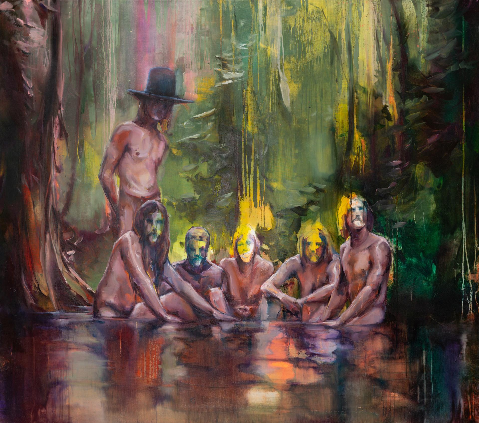 Burning men, 150 x 160 cm, oil on linen, 2018