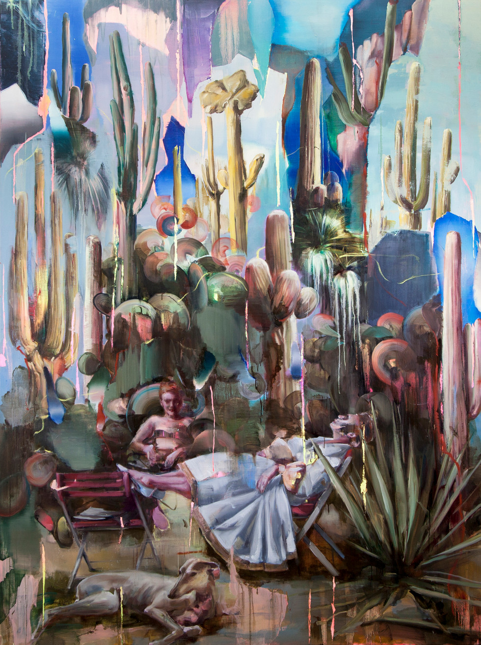 Hoax (cactus), 230 x 160 cm, oil on linen, 2019