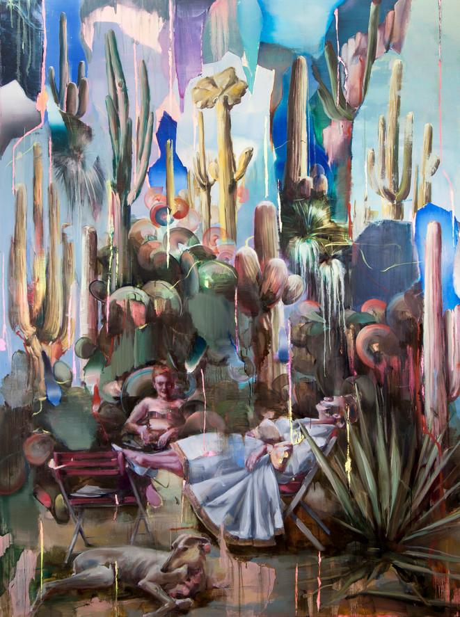 Hoax (cactus), 230 x 160 cm, oil on linen, 2019