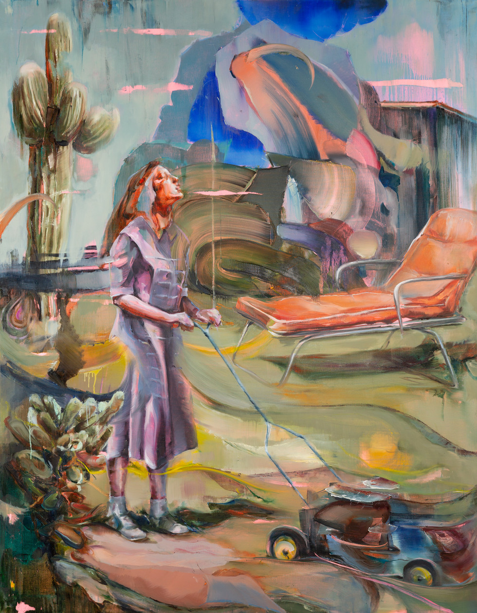 Lawnmovergirl, 180 x 140 cm, oil on linen, 2018