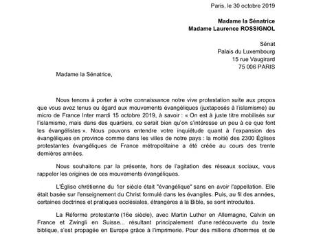 Lettre adressée à Madame la sénatrice Laurence ROSSIGNOL