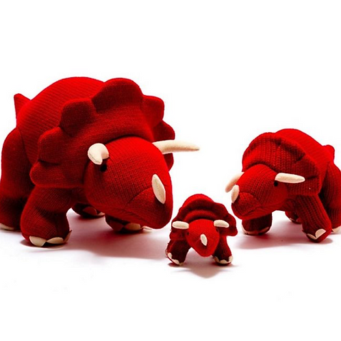 Red Large Knitted Triceratops Dinosaur