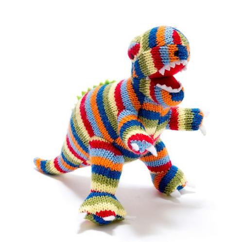 Knitted Stripe T Rex Dinosaur Rattle