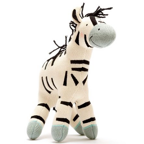 Organic cotton knitted large zebra toy