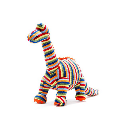 Knitted Stripe Diplodocus Dinosaur Toy