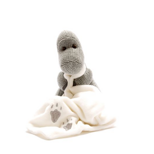 Knitted Grey Diplodocus Toy with Comfort Blanket