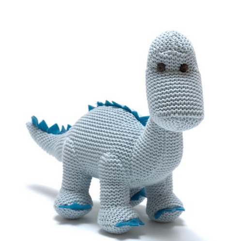 Knitted Pastel Blue Diplodocus Rattle