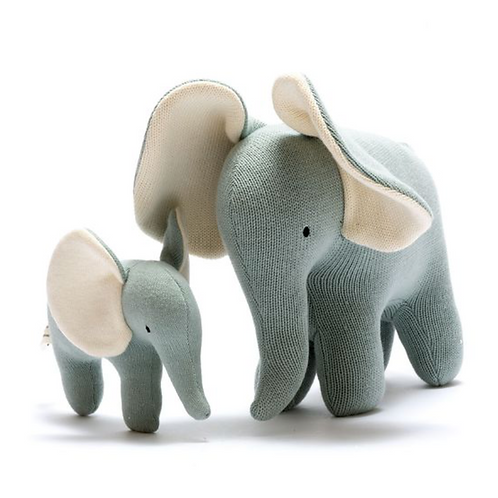 Organic Cotton Knitted Large Elephant Toy in teal