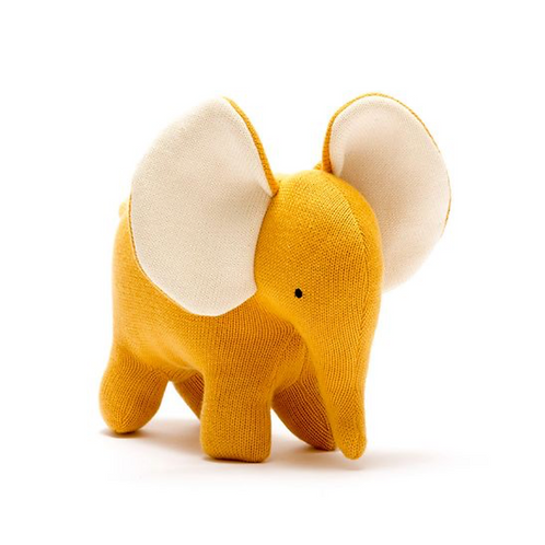 Organic Cotton Knitted Large Elephant toy in mustard