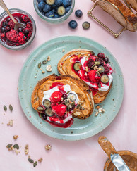 Lion's Mane Almond Butter with Warm Berries and Yogurt on Sourdough