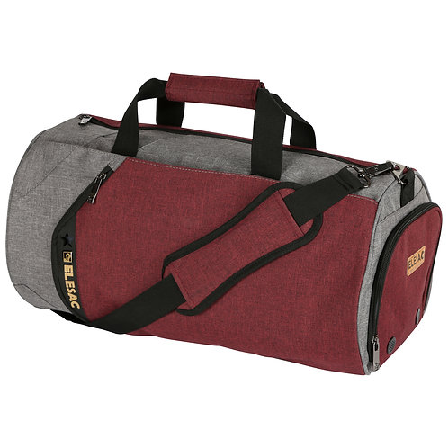 EleSac Canvas Style Round Gym Bag w/ Shoe Compartment Travel Duffel (Red-Grey)