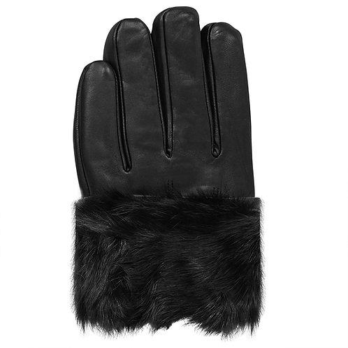 Black Fur Lined Leather Gloves