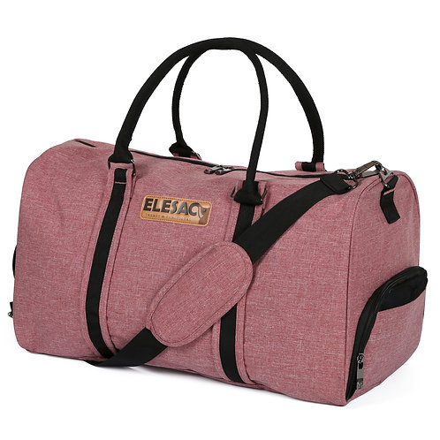 EleSac Canvas Style Duffel Bag with Shoe Compartment – Salmon Pink w/ Black Trim