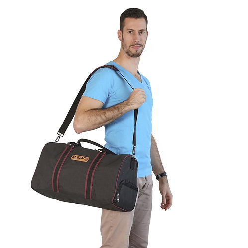 ELESAC Canvas Style Duffel Bag with Shoe Compartment – Grey w/ Bl