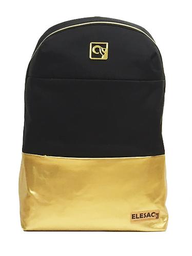 Black W/ Gold PU Leather Bottom BackPack
