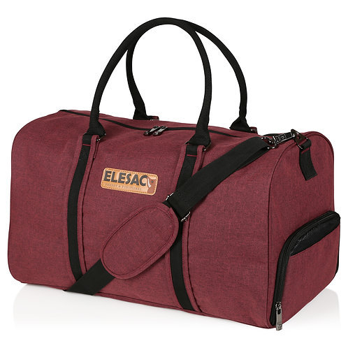 EleSac Canvas Style Duffel Bag with Shoe Compartment – Red w/ Black Trimming