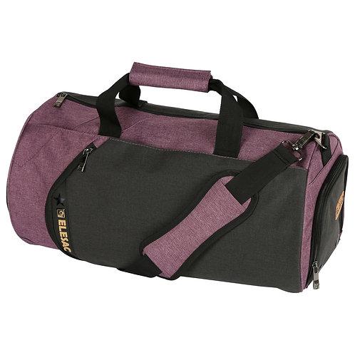EleSac Canvas Style Round Gym Bag w/ Shoe Compartment Duffel (Purple-Black)