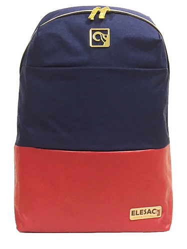 Navy W/ Red PU Leather Bottom BackPack