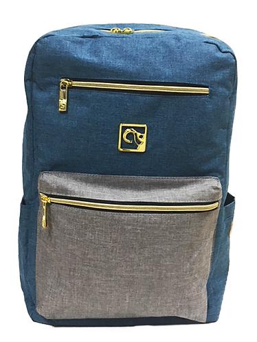 Teal Blue W/ Grey Pocket Back-Pack