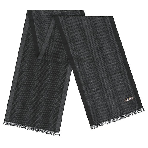 Silk Brush #59 Grey & Black Herringbone Design
