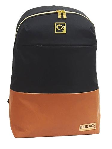 Black W/ Luggage PU Leather Bottom  Back-Pack