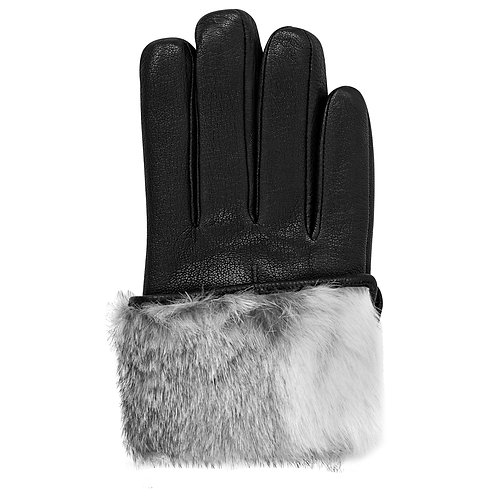 White Fur Lined Leather Gloves